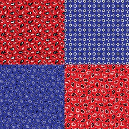 modèles de bandana paisley bleu et rouge