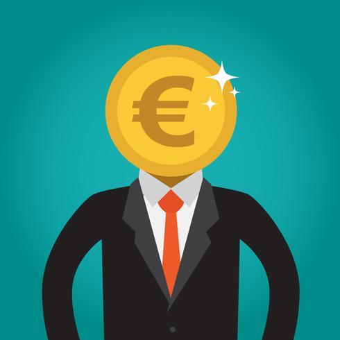 Hombre de negocios con una cabeza de moneda (euro).