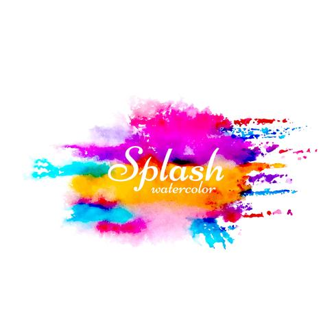 Modern watercolor splash bright colorful design