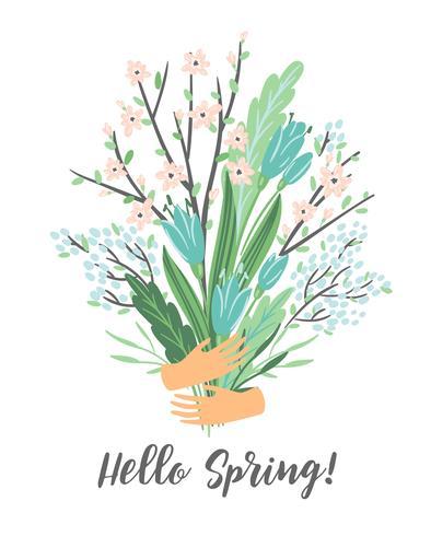 Ilustración del vector con el ramo de la primavera. Diseño para cartel, tarjeta, invitación, cartel, folleto, flyer.