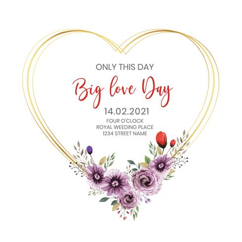 Valentine Heart Floral Template