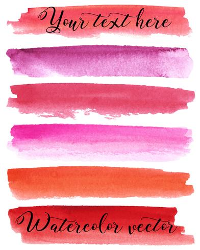 Conjunto de fundos em aquarela. Textura de aquarela com pinceladas. Borgonha, vermelho, rosa, laranja, roxo. Abstração. Isolado. Vetor.