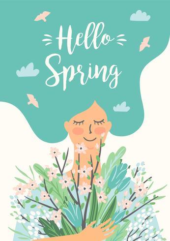 Ilustración vectorial de mujer con ramo de primavera.