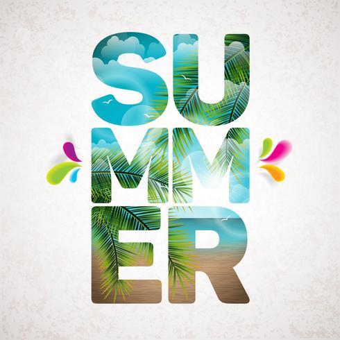 Vector ilustración tipográfica de vacaciones de verano con plantas tropicales