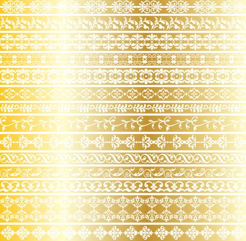gold ornate border patterns vector