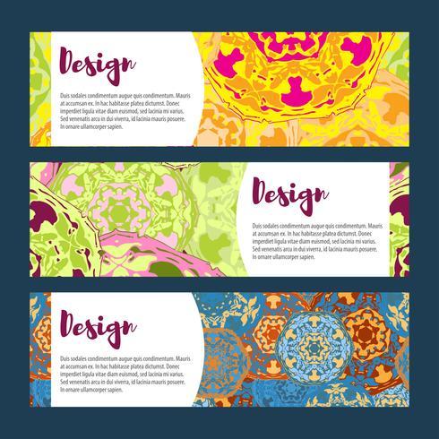 Modèles de bannières définies. Motif floral et ornements de mandala. vecteur