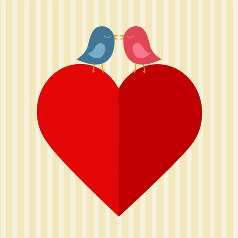 Rotes Herz und zwei Vögel