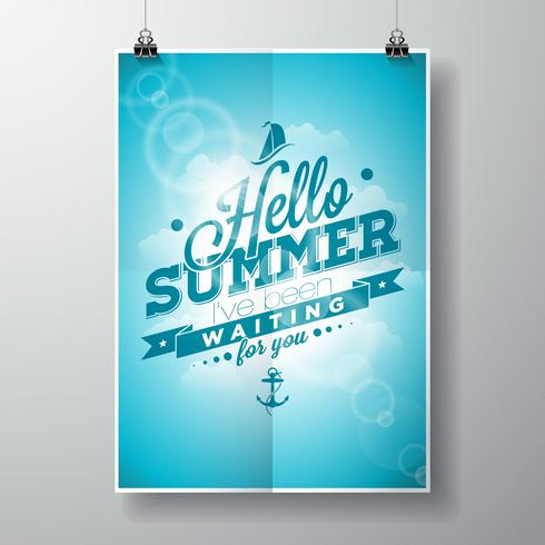 Ciao estate, ti stavo aspettando citazione di ispirazione su sfondo blu cielo.