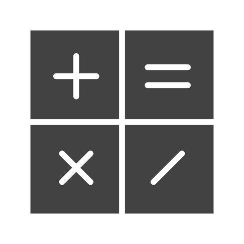 Icona del glifo del calcolatore nero