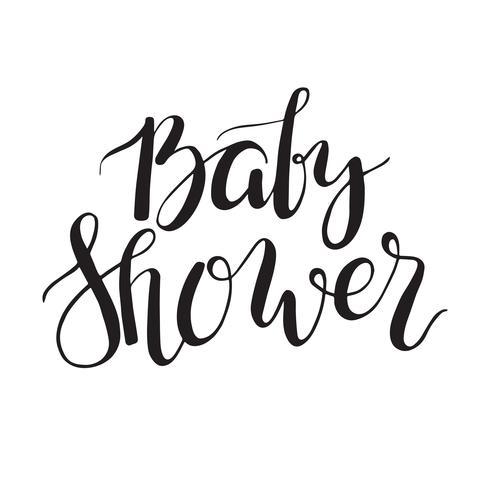 Texto de la ducha del bebé Invitación de letras personalizadas para la llegada del bebé. vector