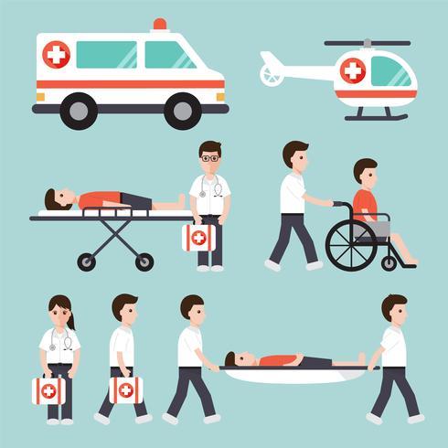 Personajes médicos y hospitalarios. vector