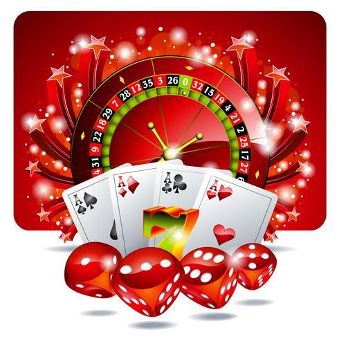 Vector ilustración de juego con elementos de casino