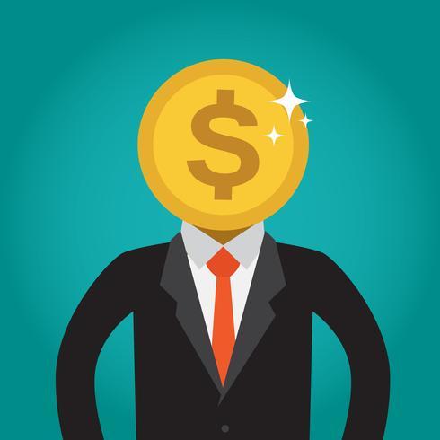 Uomo d'affari con una testa di moneta (dollaro).