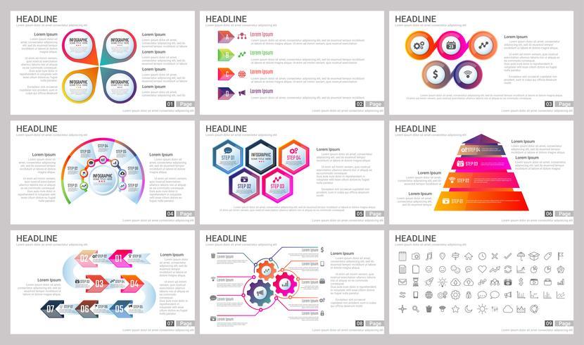 Elementos modernos de infografías para plantillas de presentaciones para banner.