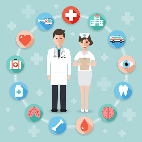 Medical and hospital concept vector
