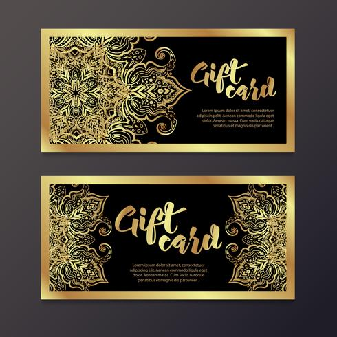 Rich gold gift certificates in the Indian style. vector