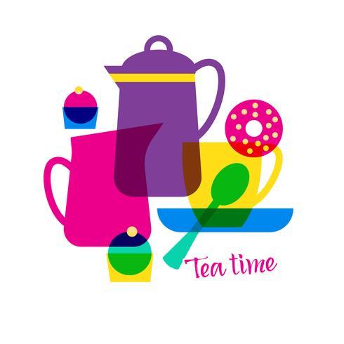 Hora del té con letras. vector
