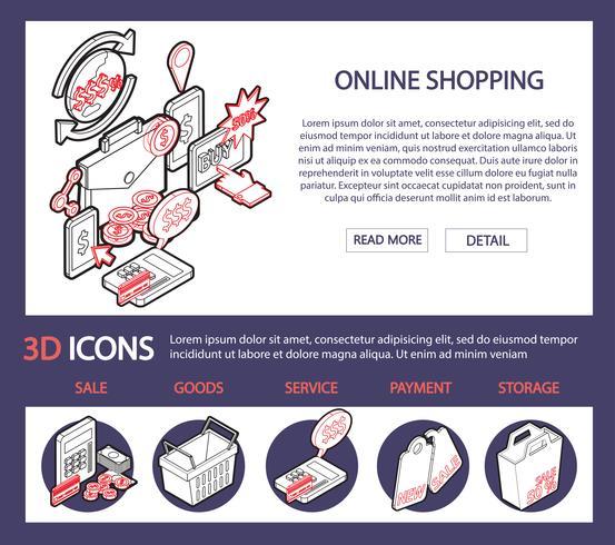 Ilustración del concepto gráfico conjunto de compras de información en línea