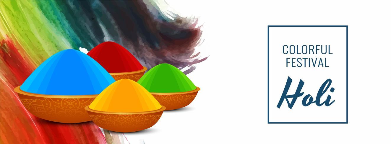 Glad Holi indisk festival färgstark banner design