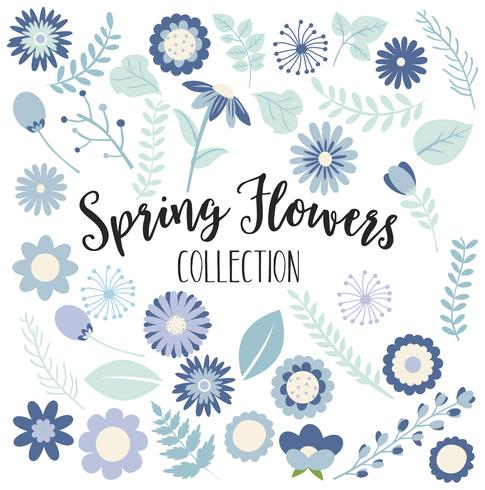 Colección de flores de primavera azul