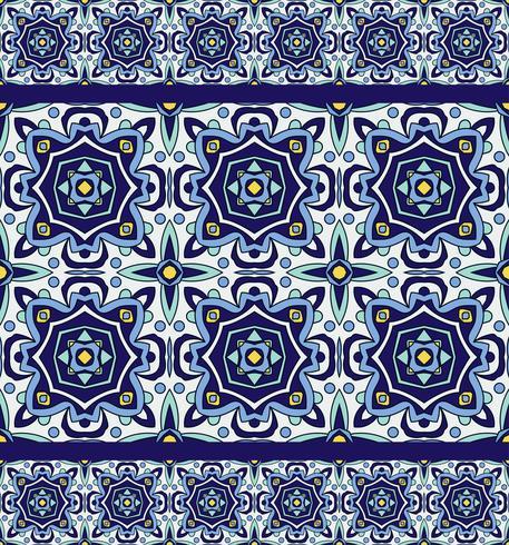 Blue ornament traditional Portuguese azulejos. Oriental seamless pattern