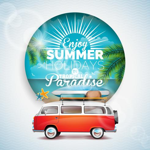 Vector Enjoy the Summer Holiday in tropical paradise typographic illustration