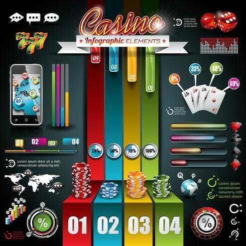 Vectorcasino infographic reeks met wereldkaart en het gokken elementen.