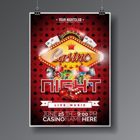 Conception de Vector Party Flyer sur un thème de casino avec des puces et des cartes de jeu