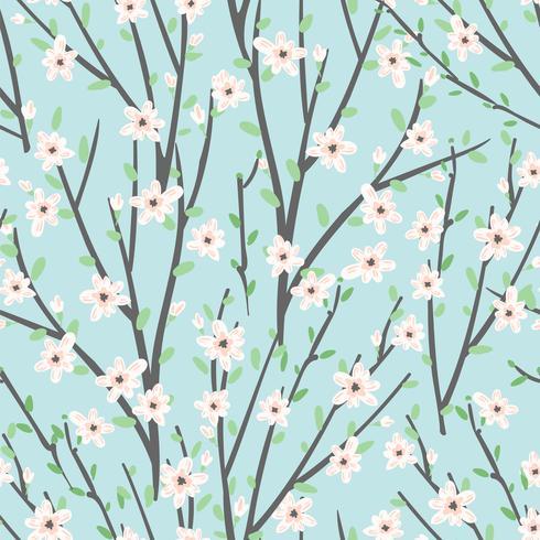 Estampado de flores del vector con las flores y las ramas.