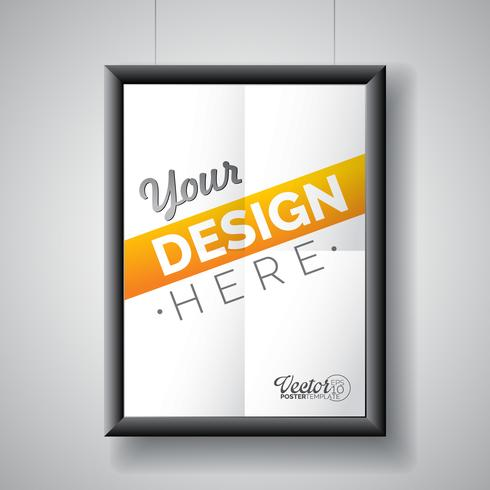 Vector poster frame template of a folded paper sheet.