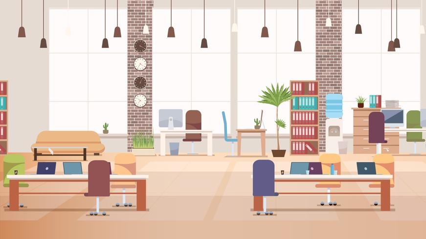 Office Interior. Coworking Workspace. Vector.