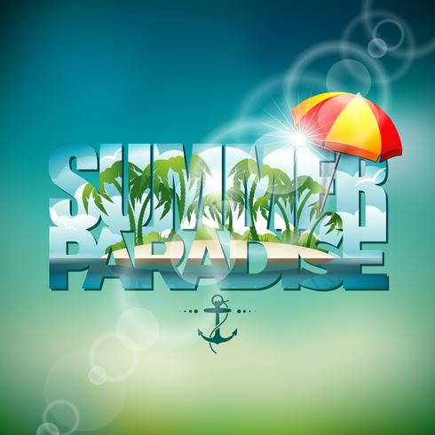 Vector a ilustração de um tema de férias de verão com pára-sol no fundo desfocado