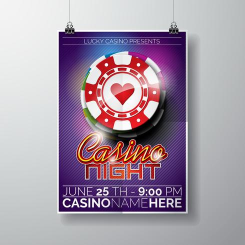 Vector Party Flyer design on a Casino theme with chips and typographyc text