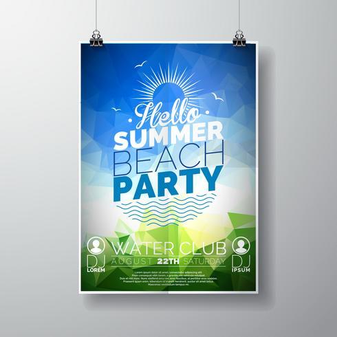 Vector o molde do cartaz do inseto do partido no tema da praia do verão com fundo brilhante abstrato.