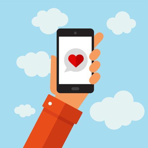 Message d'amour sur un téléphone intelligent