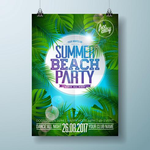 Vector zomer Beach Party Flyer ontwerpen met typografisch ontwerp