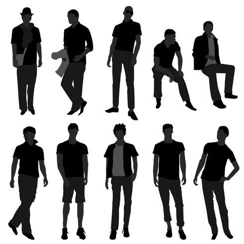 Modelos de compras de moda masculina.