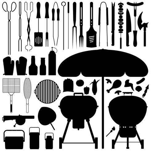Grill Silhouette Vector Set