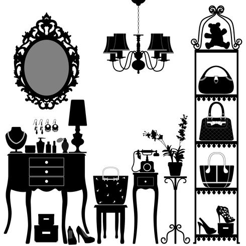 Woman Cosmetic Accessories Room Furniture.  vector