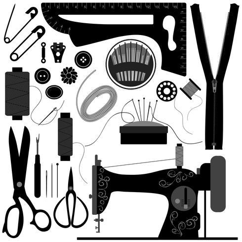 Sewing Tailor Retro Black.  vector