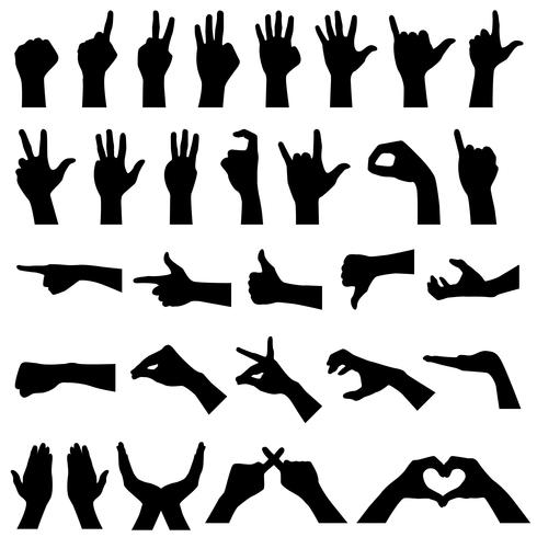 Hand Sign Gesture Silhouettes.