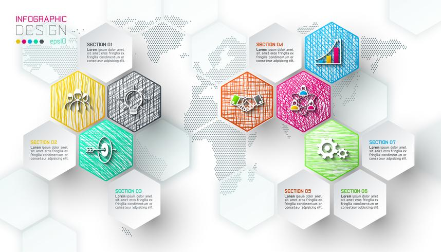 Business hexagon net labels shape infographic bar. vector