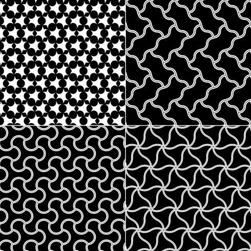 Vector conjunto de patrones sin fisuras geométricos, textura blanco y negro.