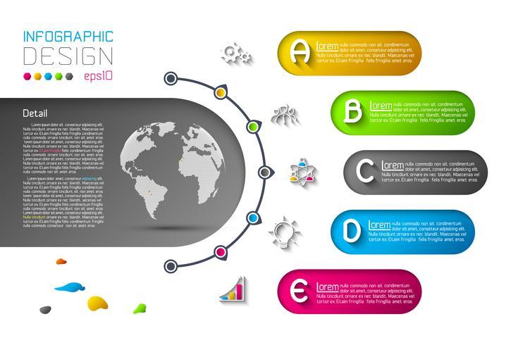 Plantilla abstracta de las opciones del paso del infographics del negocio