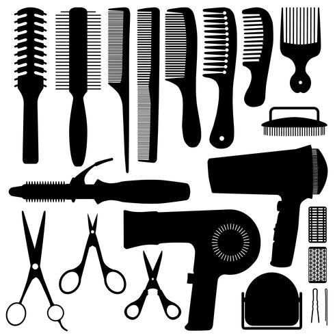 Vettore della siluetta degli accessori dei capelli.