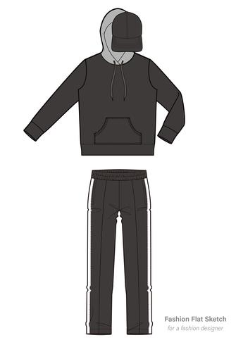 Anorak track top fashion flat technical drawing template