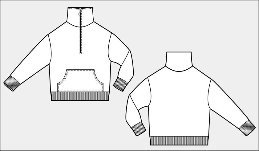 Technische Zeichnung der Anorak-Bahnspitzenmode