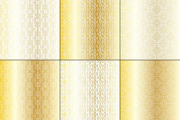 metallic gold and white wrought iron patterns
