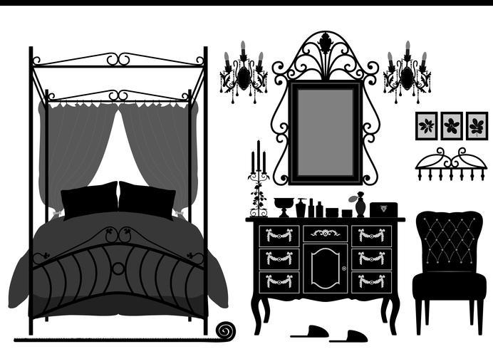 Kungliga sovrummet Antika möbler.