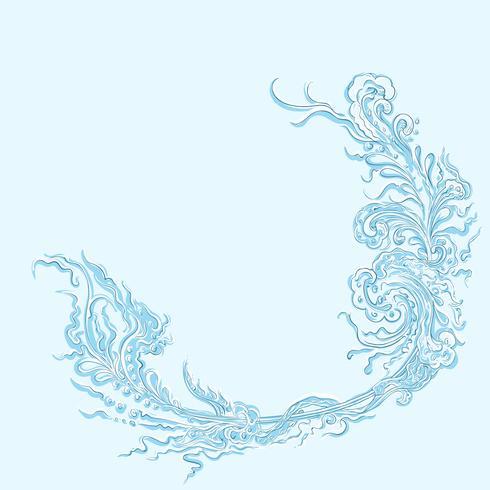 Hintergrundhandzeichnungsaufkleber, Rahmenaufkleberdesignmuster des Hintergrundes Retro, blau gefärbt